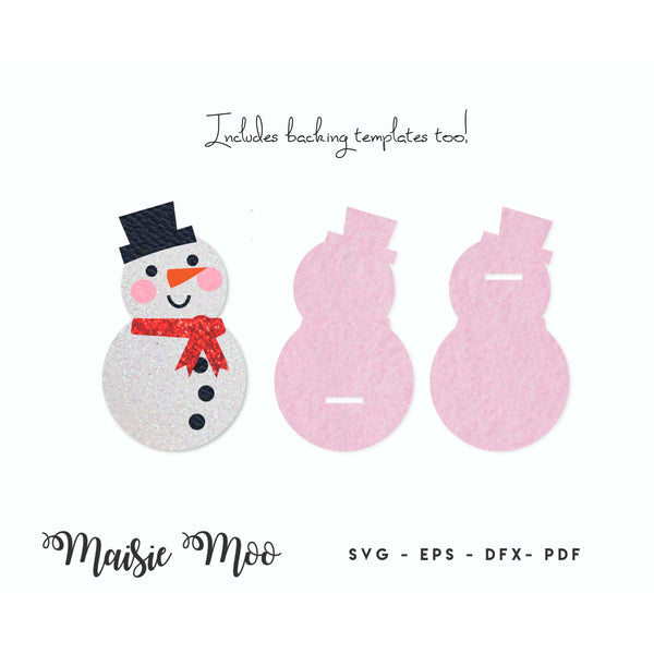 Christmas Snap Clip SVG | Snapclip Template | Bow Center Snowman Christmas Tree Pudding