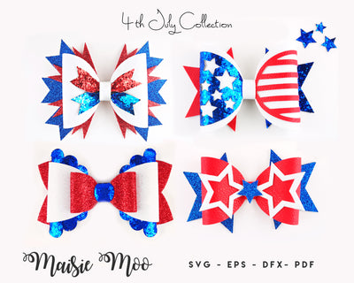 Patriotic Bow SVG Bundle, Stars and Stripes Bow SVG, 4th July Hair Bow