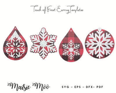 Christmas Earring SVG Templates | Snowflake Earring SVG