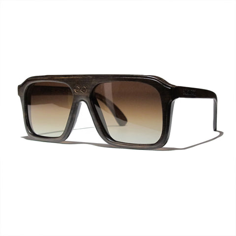 Bay Handscraped Dark Zebra Wood Polarized Aviators