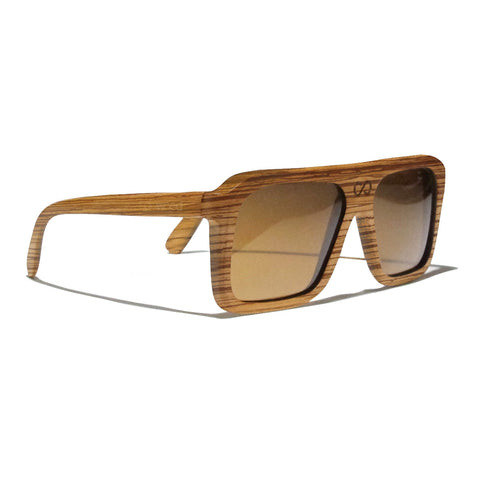 Bay Zebra Wood Polarized Aviators