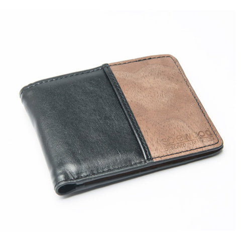 Slim-Fold Wood Wallet: Black