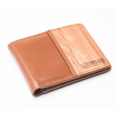 Slim-Fold Wood Wallet: Cognac Veg-Tanned Leather
