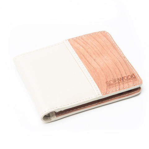 Slim-Fold Wood Wallet: Cream Veg-Tanned Leather