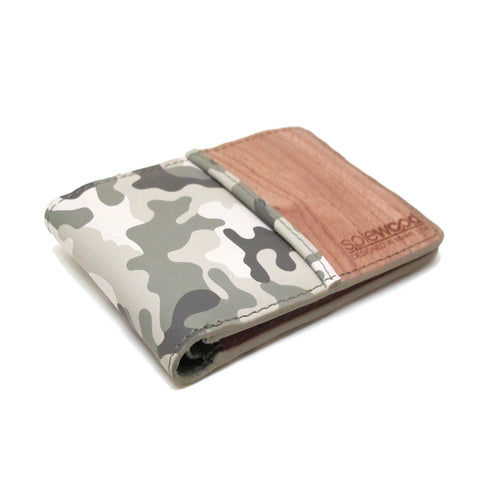 Slim-Fold Wood Wallet: Grey Camo Veg-Tanned Leather