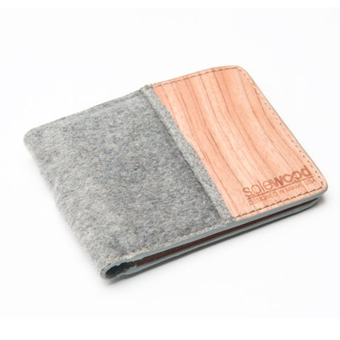 Slim-Fold Wood Wallet: Grey Flannel Natural Wool