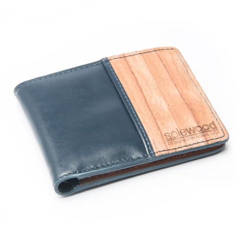 Slim-Fold Wood Wallet: Midnight Blue Veg-Tanned Leather