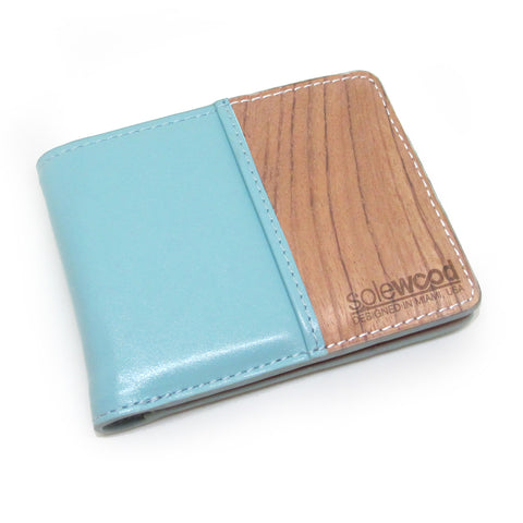 Slim-Fold Wood Wallet: Mint Veg-Tanned Leather