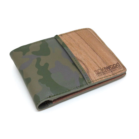 Slim-Fold Wood Wallet: Olive Camo Veg-Tanned Leather