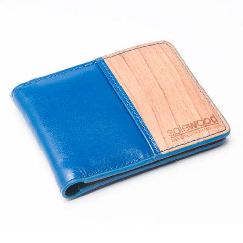 Slim-Fold Wood Wallet: Royal Blue Veg-Tanned Leather