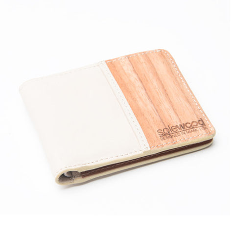 Slim-Fold Wood Wallet: Natural Vacceta Veg-Tanned Leather