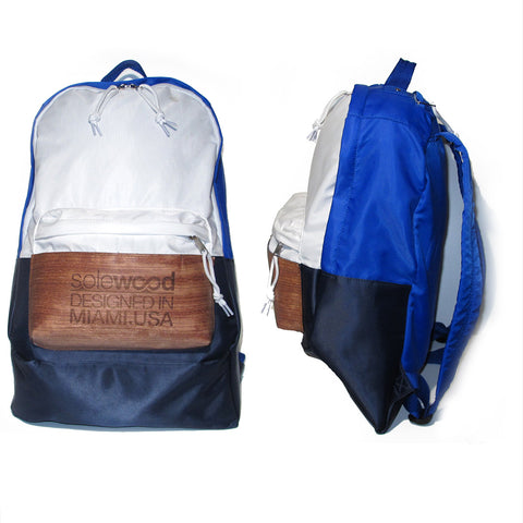 Supersoft Nylon Wood Backpack SW1: Royal Blue/White/Navy