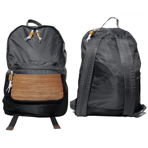 Supersoft Nylon Wood Backpack SW2: Grey/Black