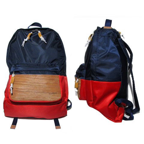 Supersoft Nylon Wood Backpack SW2: Navy/Red