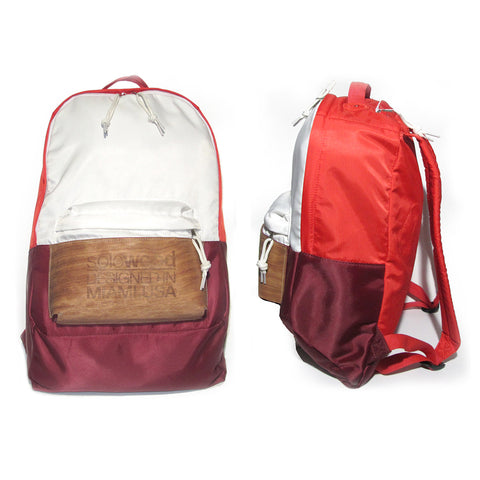 Supersoft Nylon Wood Backpack SW1: Red/White/Burgundy