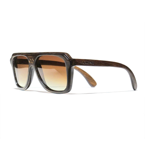 Chase Handscraped Dark Zebra Wood Polarized Aviators