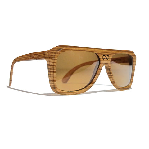 Chase Zebra Wood Polarized Aviators