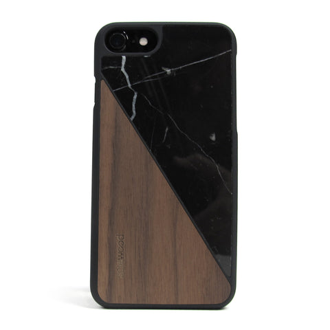 iPhone 7 Case Non Slip Black Marble / Walnut Wood Ultra Light Soft Touch PC