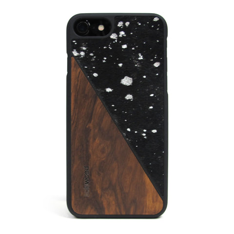 iPhone 7 Case Non Slip Metallic Black Pony Hair Suede / Zebra Wood Ultra Light Soft Touch PC