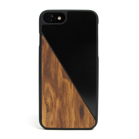 iPhone 7 Case Non Slip Black Brushed Metal / Zebra Wood Ultra Light Soft Touch