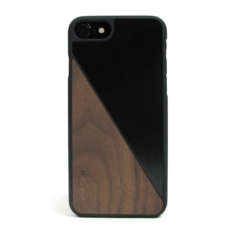 iPhone 7 Case Non Slip Black Brushed Metal / Walnut Wood Ultra Light Soft Touch PC