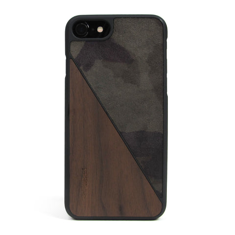 iPhone 7 Case Non Slip Bloche Olive Camo Suede / Walnut Wood Ultra Light Soft Touch PC