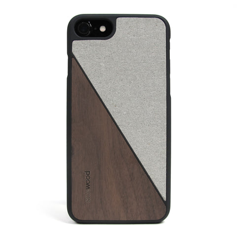 iPhone 7 Case Non Slip Concrete / Walnut Wood Ultra Light Soft Touch PC