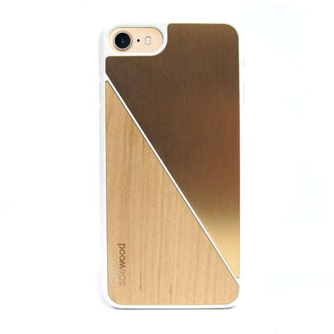 iPhone 7 Case Non Slip White Gold Brushed Metal / Maple Wood Ultra Light Soft Touch PC