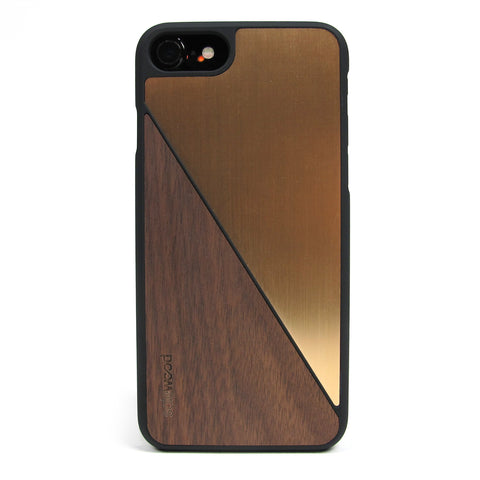 iPhone 7 Case Non Slip Gold Brushed Metal / Walnut Wood Ultra Light Soft Touch PC