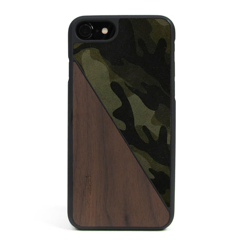 iPhone 7 Case Non Slip Olive Camo Suede / Walnut Wood Ultra Light Soft Touch PC