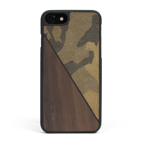 iPhone 7 Case Non Slip Sahara Camo Suede / Walnut Wood Ultra Light Soft Touch PC