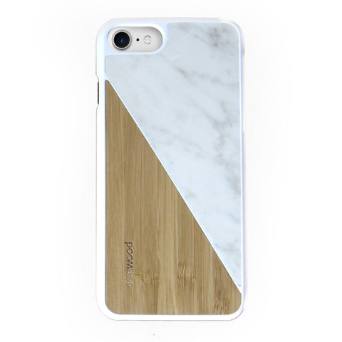 iPhone 7 Case Non Slip White Carrera Marble / Bamboo Ultra Light Soft Touch PC