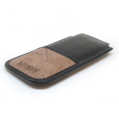 iPhone Leather Wallet: Black Veg-Tanned Leather