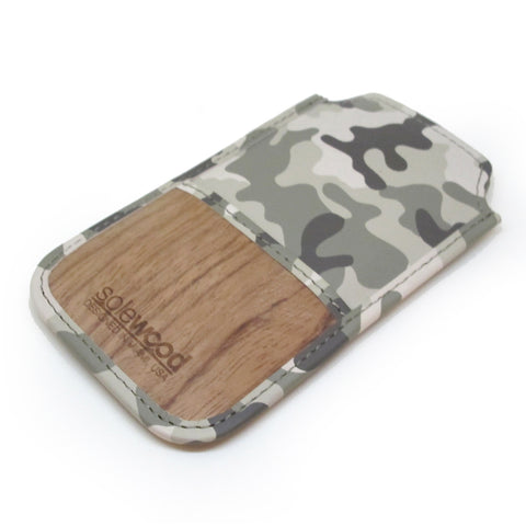 iPhone Leather Wallet: Grey Camo Veg-Tanned Leather