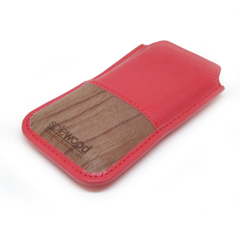 iPhone Leather Wallet: Hot Coral Veg-Tanned Leather