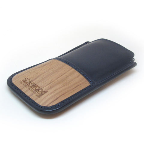 iPhone Leather Wallet: Midnight Blue Veg-Tanned Leather