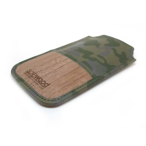 iPhone Leather Wallet: Olive Camo Veg-Tanned Leather