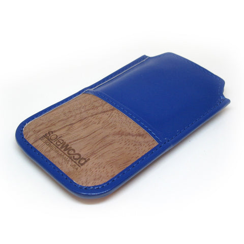 iPhone Leather Wallet: Royal Blue Veg-Tanned Leather