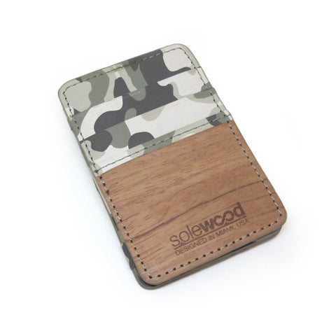 Magic Wood Wallet: Grey Camo