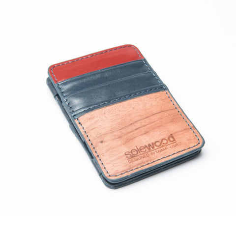 Magic Wood Wallet: Midnight Blue & Red