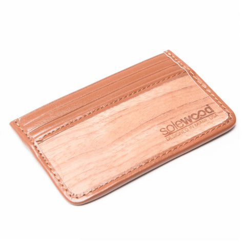 Slim-Card Wood Wallet: Cognac