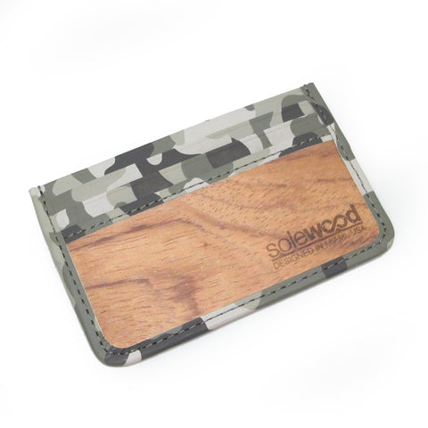 Slim-Card Wood Wallet: Grey Camo