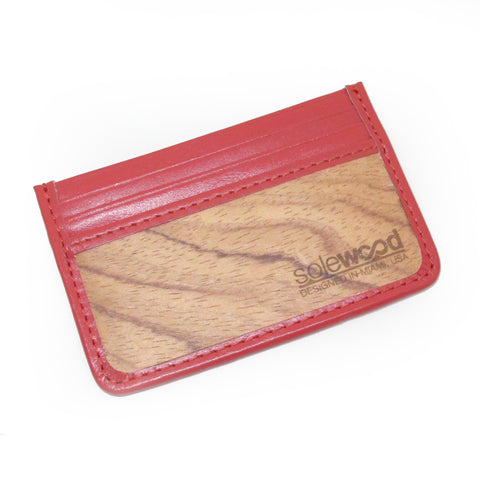 Slim-Card Wood Wallet: Hot Coral