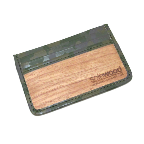 Slim-Card Wood Wallet: Olive Camo