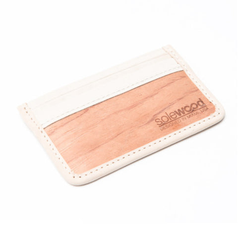 Slim-Card Wood Wallet: Natural Vacceta