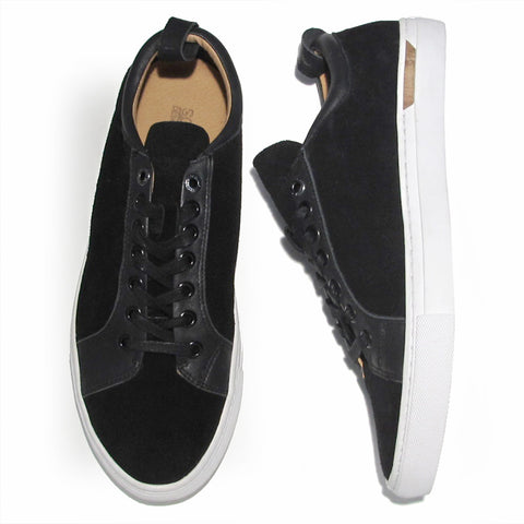 The Standard Lace Up: Black Nappa Leather & Velvet Suede