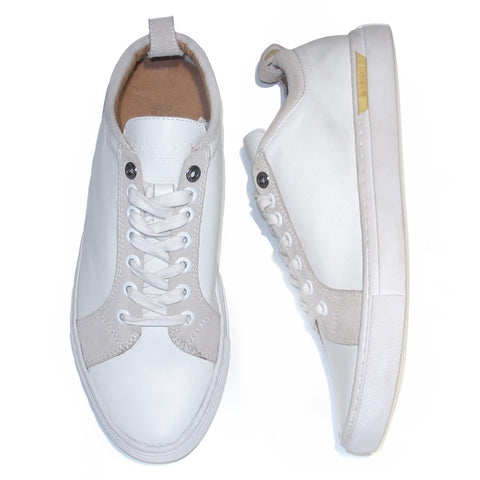 The Standard Lace Up: White Nappa Leather & Velvet Suede