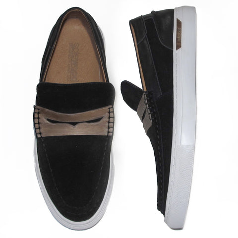SoleWood Penny Sneak: Black Nappa Leather & Velvet Suede