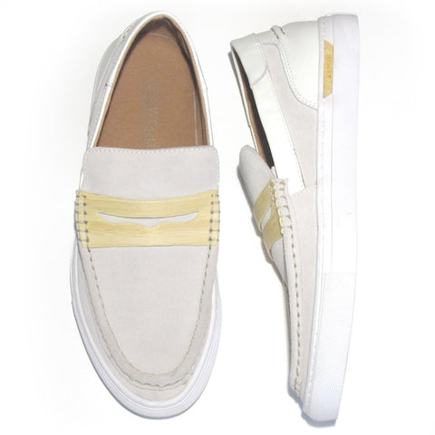 SoleWood Penny Sneak: White Nappa Leather & Velvet Suede