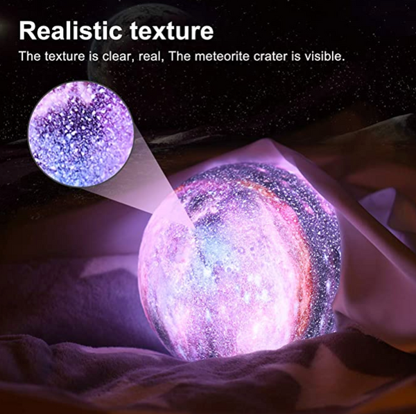glimmer galaxy moon lamp